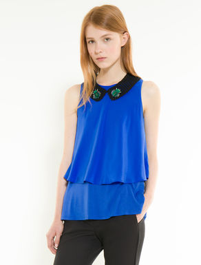 Silk and jersey top