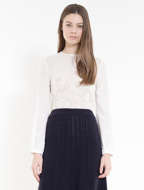 Wool lace and silk T-shirt