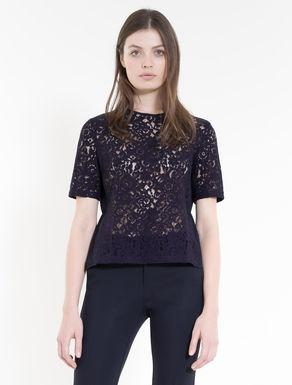 Pleated lace and jersey blouse