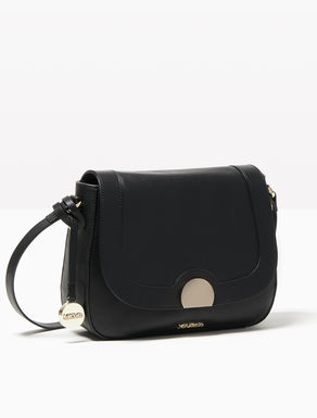 Rounded leather shoulder bag