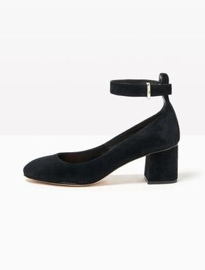 Suede pumps with midi heel