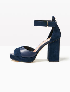 Suede sandals with plateau