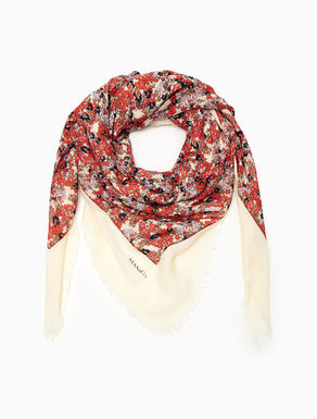 Floral georgette and twill scarf