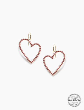 Boucles d'oreilles cœur avec cristaux