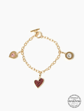 Multi-charm bracelet with crystals