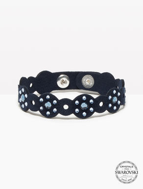 Alcantara bracelet with crystals