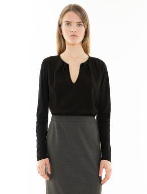 Jersey and sablé fabric T-shirt
