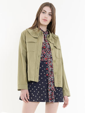 Gabardine jacket with ruching