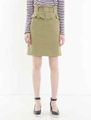 Gabardine skirt with ruching