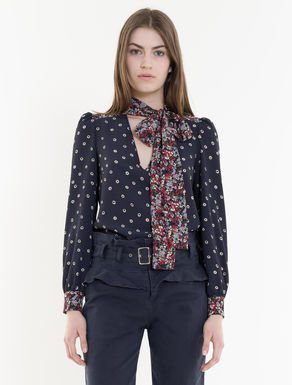 Mixed print blouse with bow