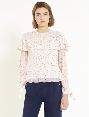 Polka-dotted crêpe blouse with flounce
