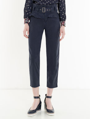 Gabardine trousers with ruching
