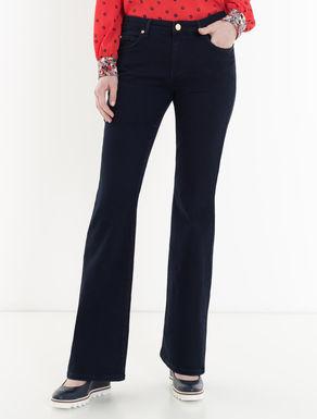 Blue super-stretch boot-cut jeans