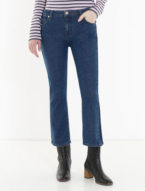 Cropped jeans with side bands