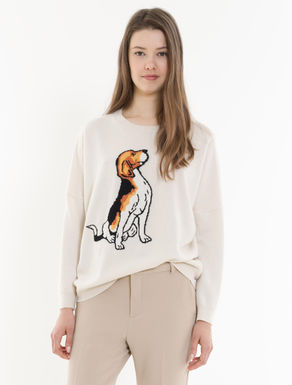 Wool/cashmere sweater with inlay