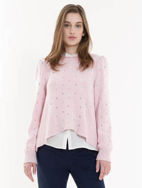 Sweater with eyelets and slit