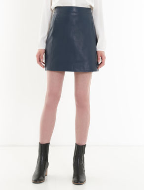 A-line skirt in waxed nappa