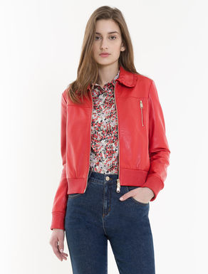 Nappa bomber jacket with ruching
