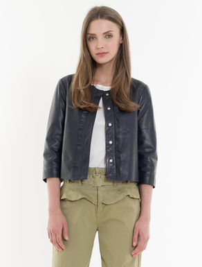 Nappa jacket with ruching