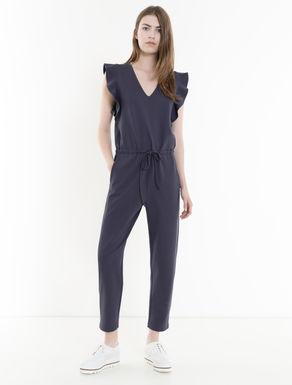 Jersey jumpsuit with flounce