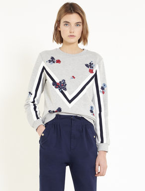 Embroidered sweatshirt with appliqués