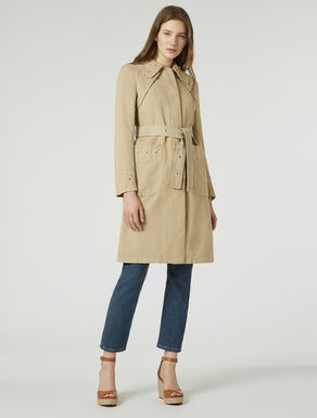 Panama trench coat with eyelets
