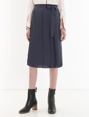 Striped pleated satin skirt