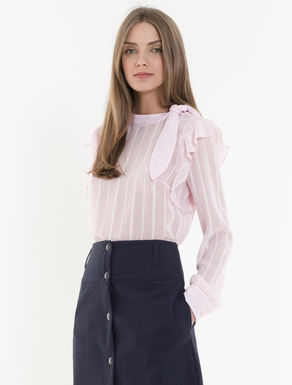 Voile blouse with bow and flounce