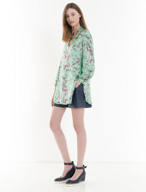 Floral-print silk tunic