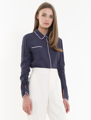 Crêpe shirt with drawstring