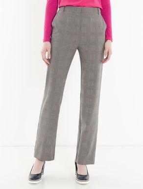 Light wool glen plaid trousers