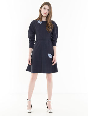 Glen plaid wool dress with appliqués