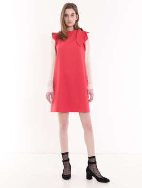 Stretch cotton dress with bow