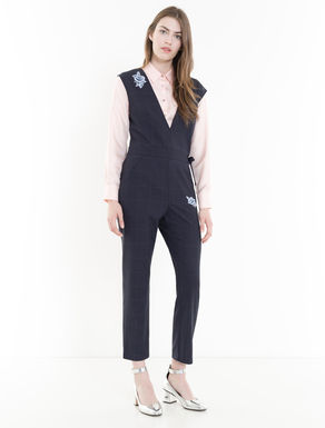 Glen plaid wool jumpsuit with appliqué