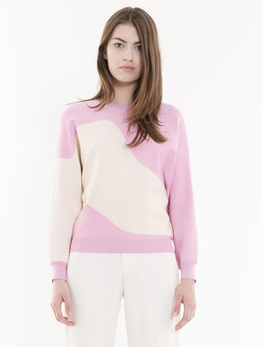 Colour-block inlaid sweater