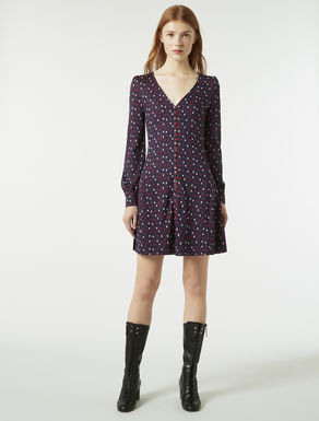 Jersey jacquard fit & flare dress