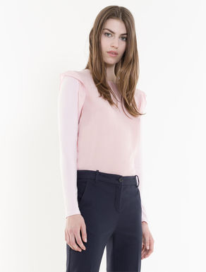 Silk and jersey blouse with flounce