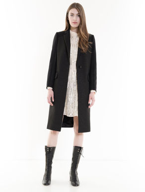 Lamé wool cloth coat