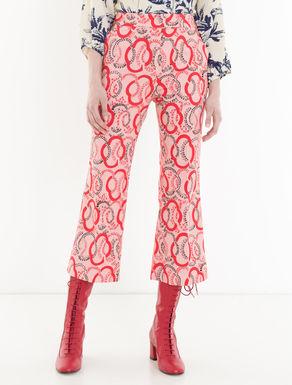 Kick-flare piqué trousers
