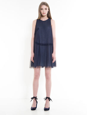 Pleated tulle A-line dress