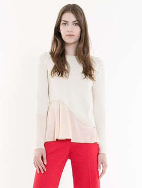 Sweater with fabric frills