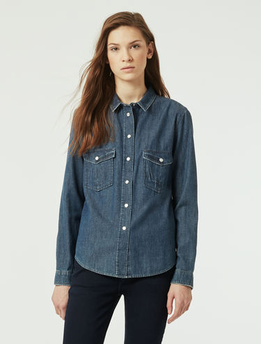 Chemisier en denim délavé