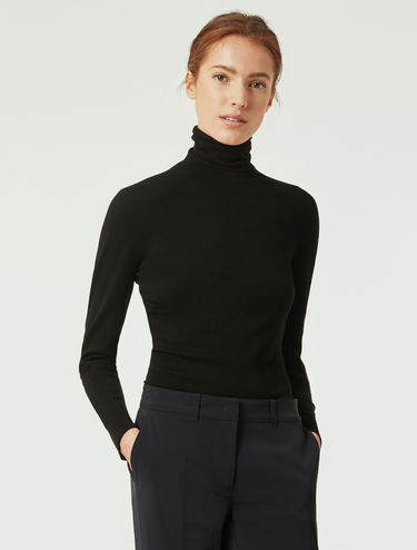 Slim-fit, stretch turtleneck sweater