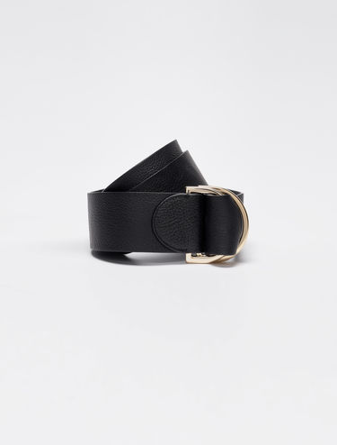 Leather belt with D buckle