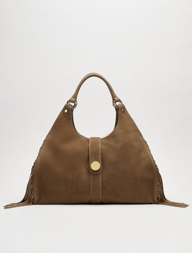 Suede tote bag with fringe