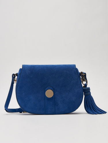 Suede saddle bag with nappa