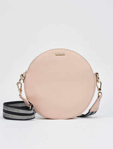 Round bag with ribbon shoulder strap