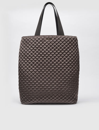 Velvet quilted shopper bag
