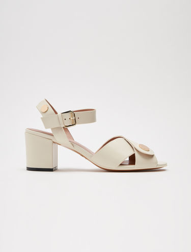 Mid-heel leather sandals