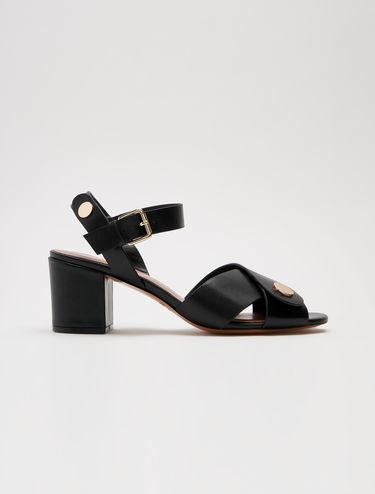 Sandali tacco midi in pelle